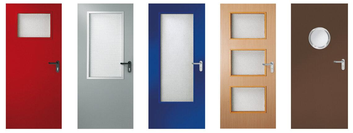 Innentüren mit verschiedenen Verglasungs-Arten