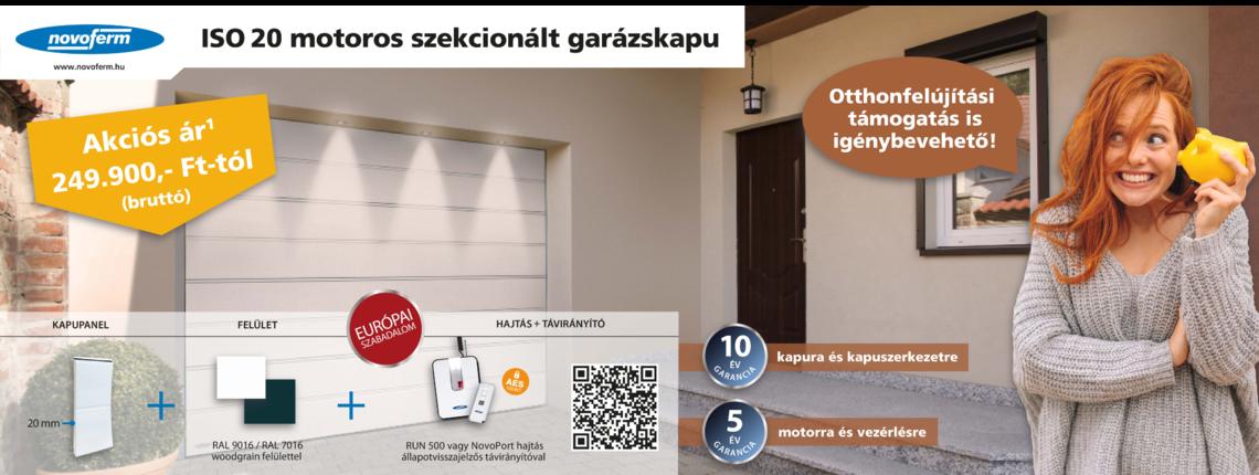 ISO 20 motorizált szekcionált garázskapu akció